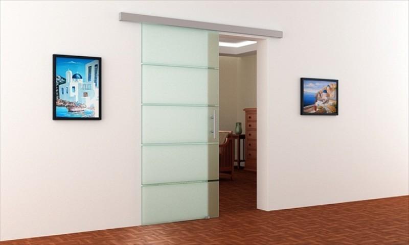 Glas schiebetür schienensystem  900 x 2050 x 8mm Glasschiebetür gestreift | Alu-Schienensystem ...