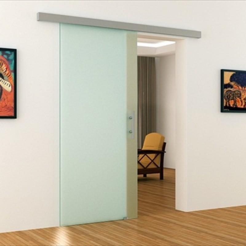 blickdichte glasschiebet r mit dorma agile 50 laufschiene. Black Bedroom Furniture Sets. Home Design Ideas