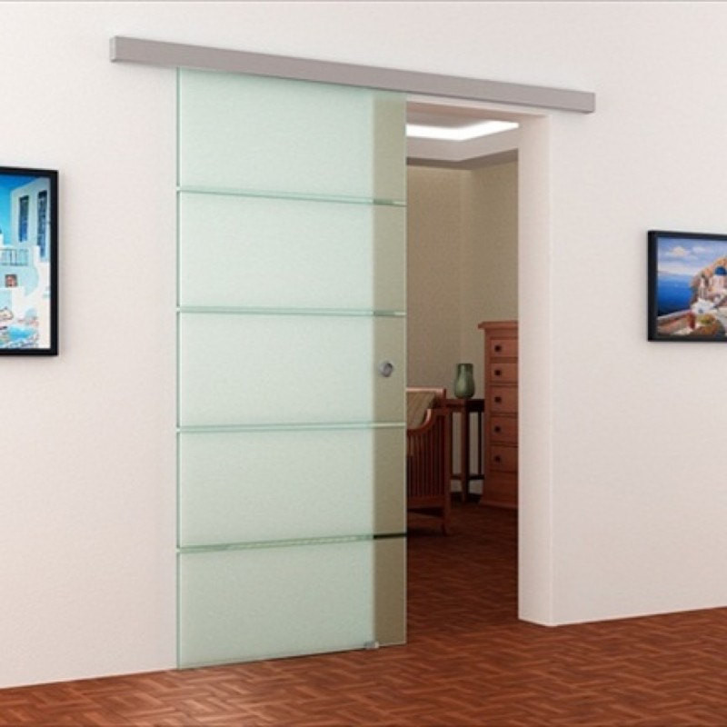 Schiebetür glas satiniert  Gestreifte Glas-Schiebetür mit 5 satinierte / Siebdruck Streifen ...
