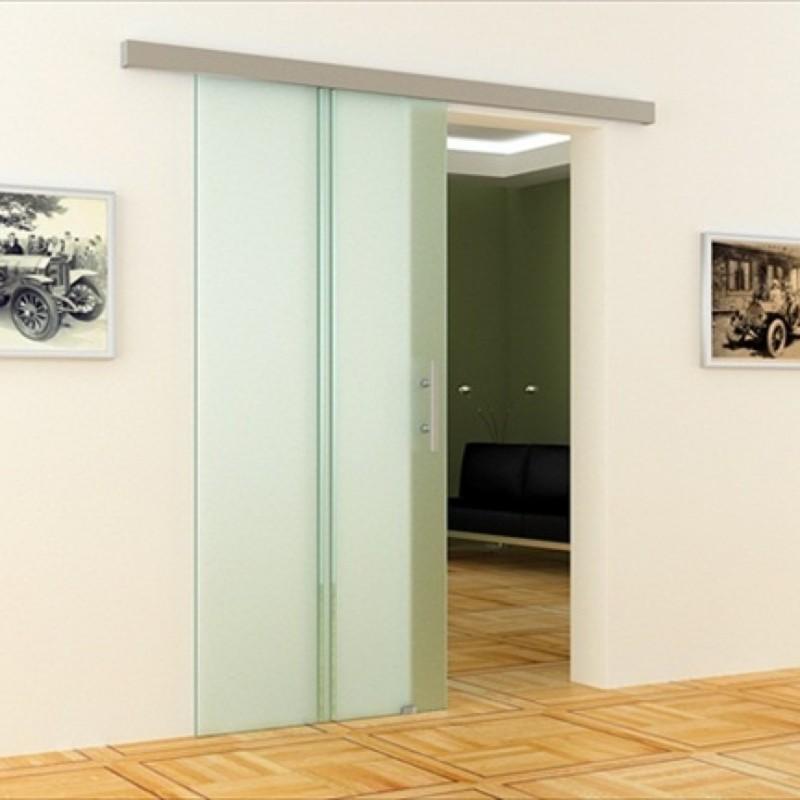 glas schiebet r mit dorma laufschiene 900 x 2050 mm. Black Bedroom Furniture Sets. Home Design Ideas