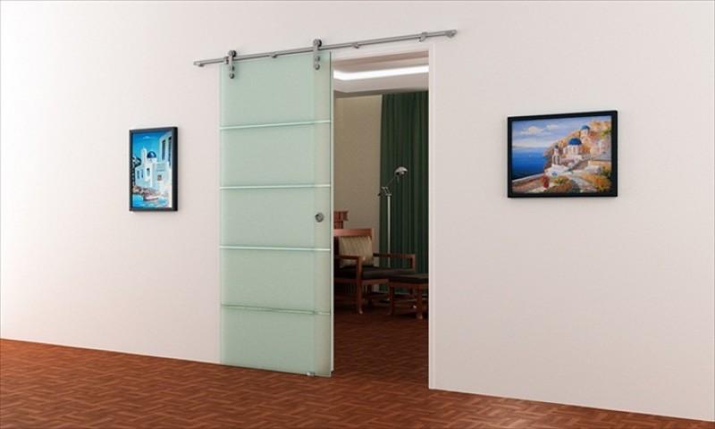 glasschiebet r 775 x 2050 mm edelstahl laufschiene mit. Black Bedroom Furniture Sets. Home Design Ideas