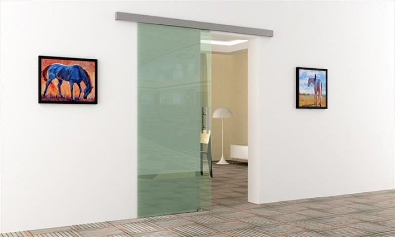 Glas schiebetür schienensystem  Glasschiebetür Innen mit Stangengriff, Scheibe & Schienensystem ...