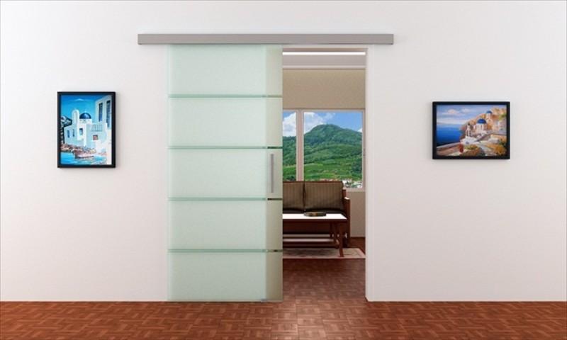 Schiebetür schiene  Schiebetür aus Glas in 775 x 2050 mm | Dorma Agile 50 Laufschiene ...