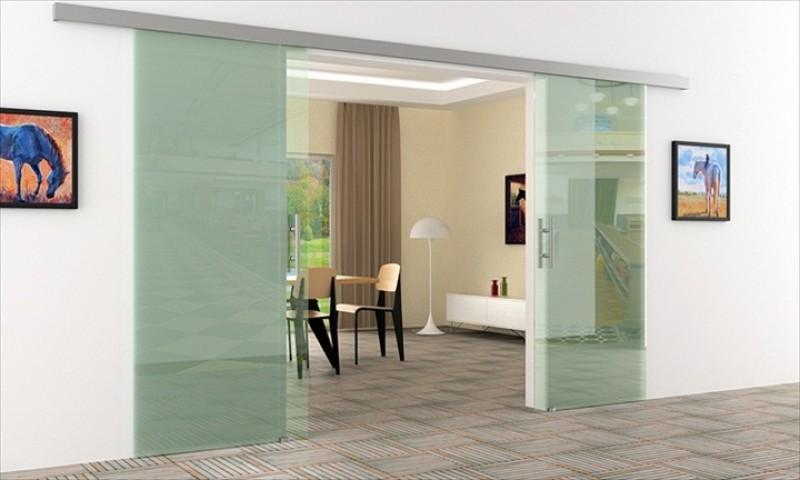 Glas schiebetür schienensystem  Schiebetür Glas Klarglas | 2Stk. 775 x 2050 mm | ...
