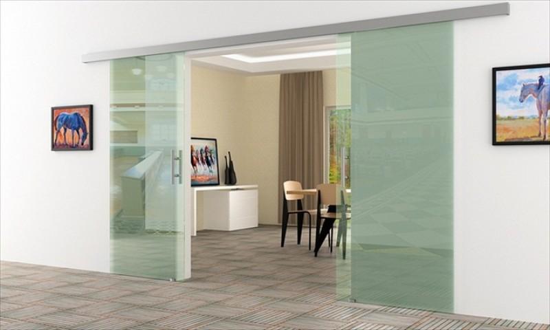 Glas schiebetür schienensystem  Schiebetür Glas Klarglas | 2Stk. 900 x 2050 mm | ...