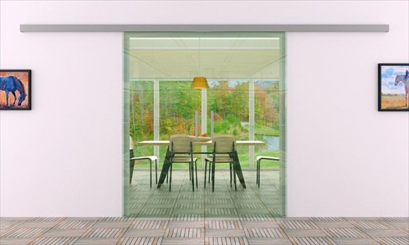 Schiebetür schienensystem  Schiebetür Glas Klarglas | 2Stk. 900 x 2050 mm | ...