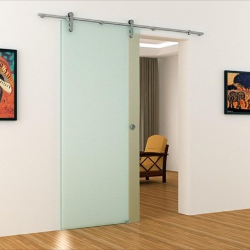 schiebet r aus glas mit edelstahl stange und edelstahl. Black Bedroom Furniture Sets. Home Design Ideas