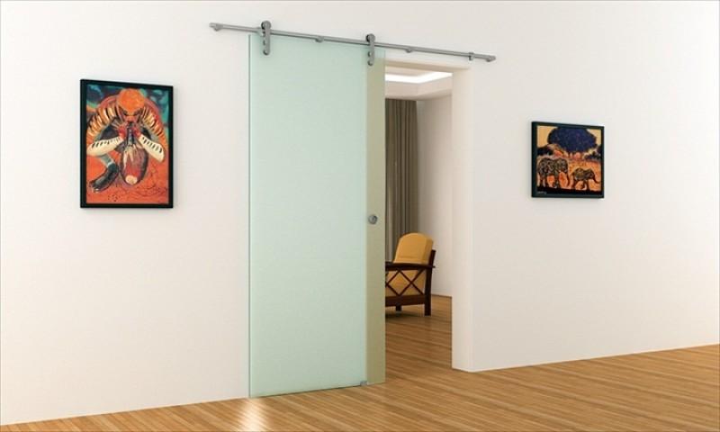 schiebet r aus glas mit edelstahl stange und edelstahl laufrollen. Black Bedroom Furniture Sets. Home Design Ideas