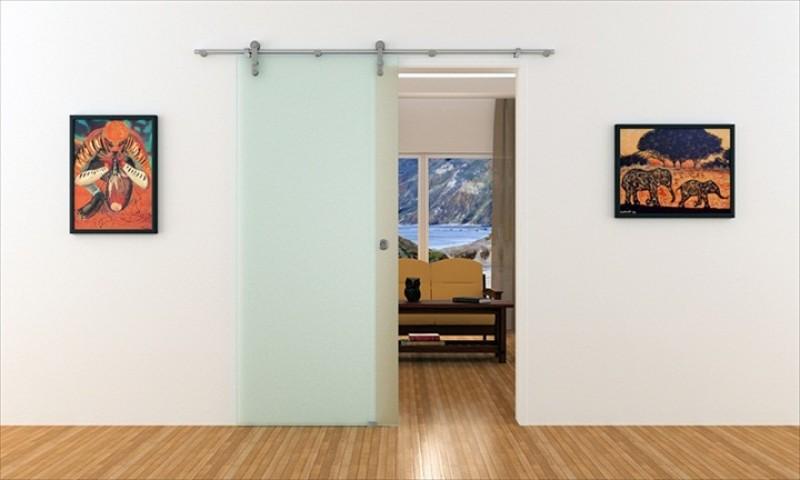 Schiebetür schienensystem  Schiebetür aus Glas mit Edelstahl-Stange und Edelstahl Laufrollen ...